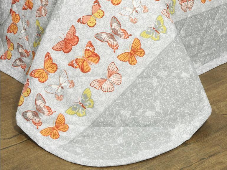 Kit: 1 Cobre-leito Casal + 2 Porta-travesseiros Percal 200 fios - Luna Cinza - Dui Design