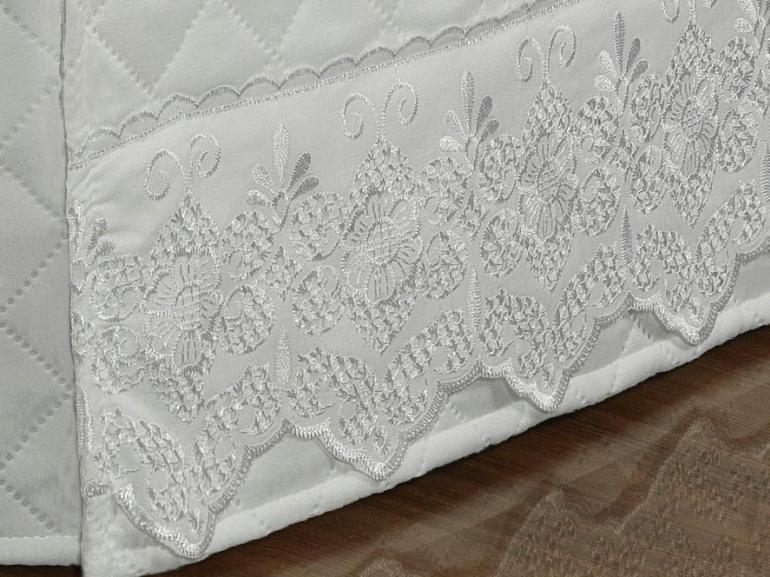 Saia para cama Box Matelassada com Bordado Inglês Solteiro - Luxury Branco - Dui Design