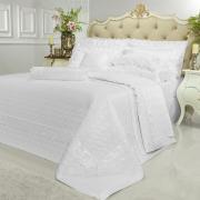 Kit: 1 Cobre-leito King + 2 porta-travesseiros Cetim de Algodão 1.000 fios com Bordado Inglês - Luxury Branco - Dui Design