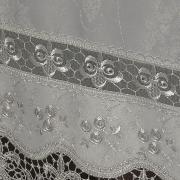 Toalha de Mesa com Bordado Guipir Fácil de Limpar Quadrada 8 Lugares 220x220cm - Luxury Prata - Dui Design