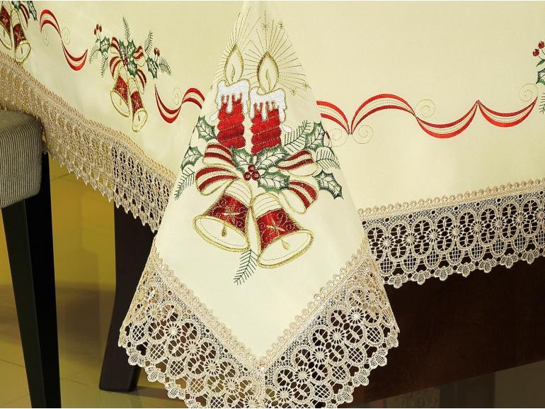 Toalha de Mesa Natal com Bordado Richelieu Quadrada 4 Lugares 160x160cm - Luz Natural - Dui Design