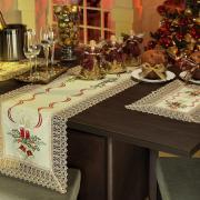 Trilho (Caminho) de Mesa Natal com Bordado Richelieu 45x170cm - Luz Natural - Dui Design