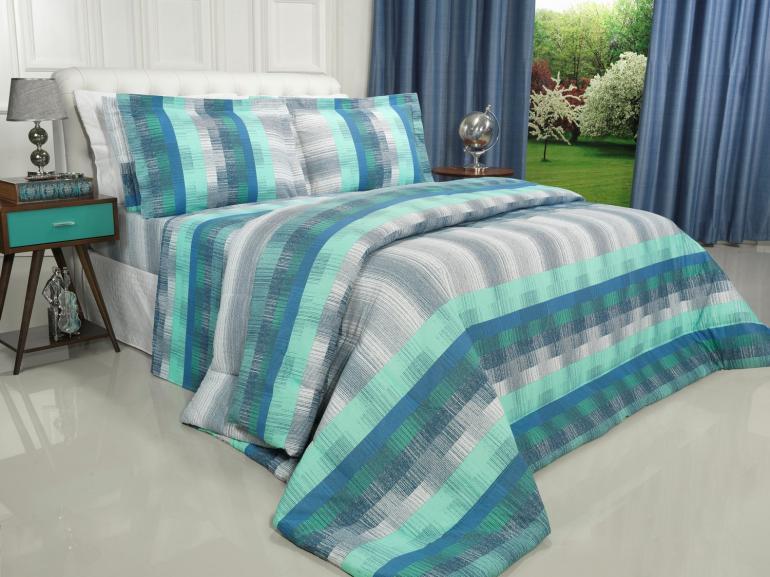 Enxoval Casal com Edredom 5 peças Percal 180 fios - Luzon Azul - Dui Design