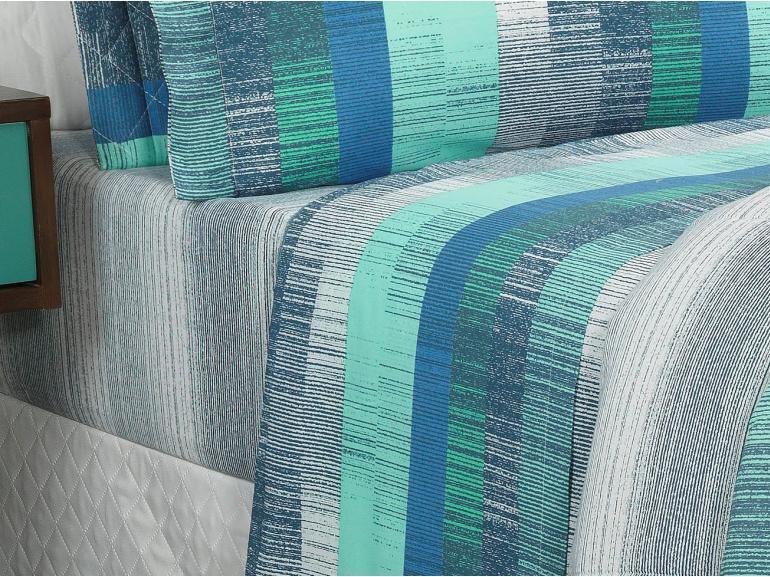 Jogo de Cama Casal Percal 180 fios - Luzon Azul - Dui Design