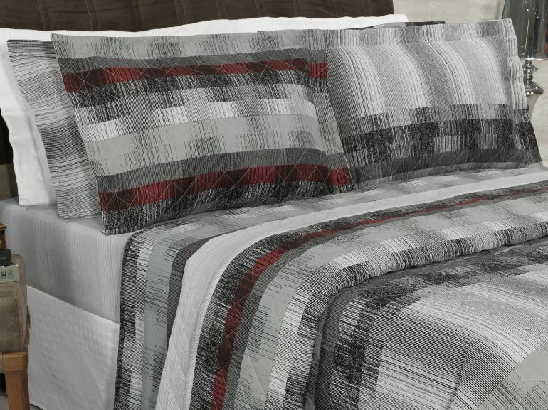 Kit: 1 Cobre-leito Casal + 2 Porta-travesseiros Percal 180 fios - Luzon Cinza - Dui Design