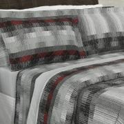 Enxoval Casal com Cobre-leito 7 peças Percal 180 fios - Luzon Cinza - Dui Design