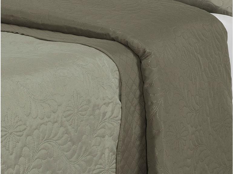 Kit: 1 Cobre-leito Casal Bouti de Microfibra Ultrasonic + 2 Porta-travesseiros - Lyon Bege e Taupe - Dui Design