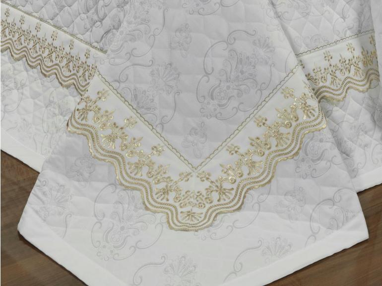 Jogo de Cama Queen Cetim de Algodão 300 fios Jacquard com Bordado Inglês - Lyon Branco e Areia - Dui Design