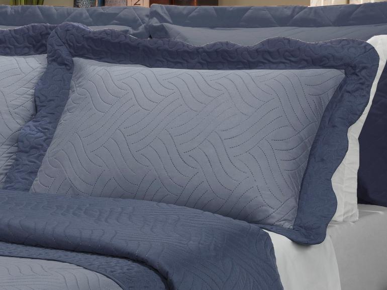 Kit: 1 Cobre-leito Casal Bouti de Microfibra Ultrasonic + 2 Porta-travesseiros - Lyon Indigo - Dui Design