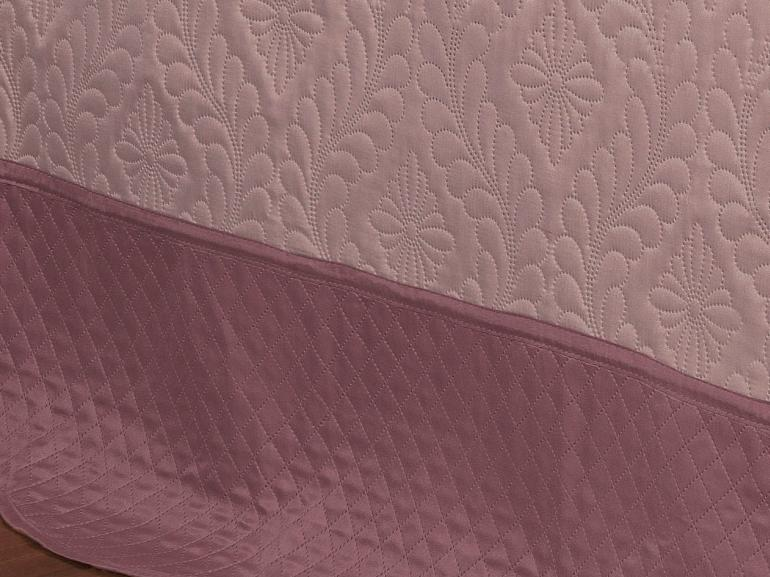 Kit: 1 Cobre-leito Solteiro Bouti de Microfibra Ultrasonic + 1 Porta-travesseiro - Lyon Rosa e Rosa Velho - Dui Design