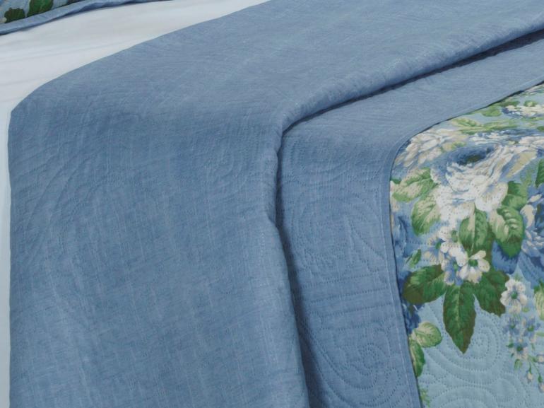 Kit: 1 Cobre-leito King Bouti de Microfibra Ultrasonic Estampada + 2 Porta-travesseiros - Mabelle Azul - Dui Design