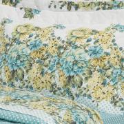 Kit: 1 Cobre-leito Solteiro + 1 Porta-travesseiro Percal 200 fios - Madalena Azul - Dui Design