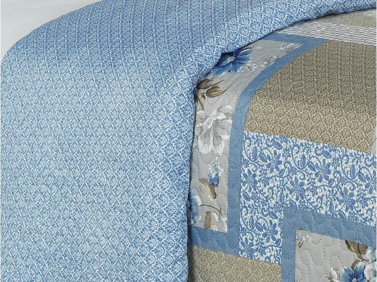 Kit: 1 Cobre-leito King Bouti de Microfibra Ultrasonic Estampada + 2 Porta-travesseiros - Madeleine Azul - Dui Design