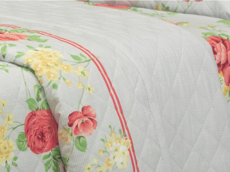 Kit: 1 Cobre-leito King + 2 Porta-travesseiros 150 fios - Madeleine Carmin - Dui Design