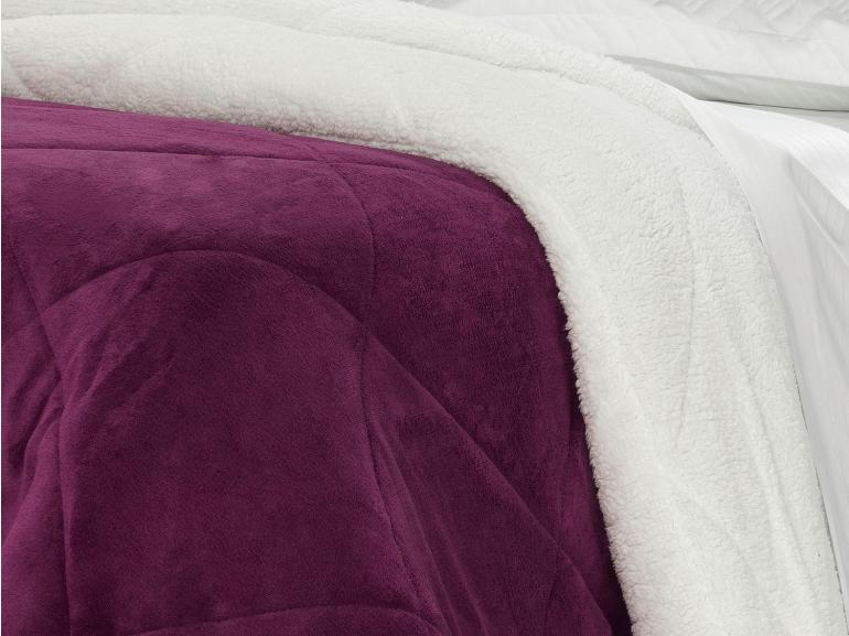Edredom King Pele de Carneiro e Plush - Sherpa Madrid Ameixa - Dui Design