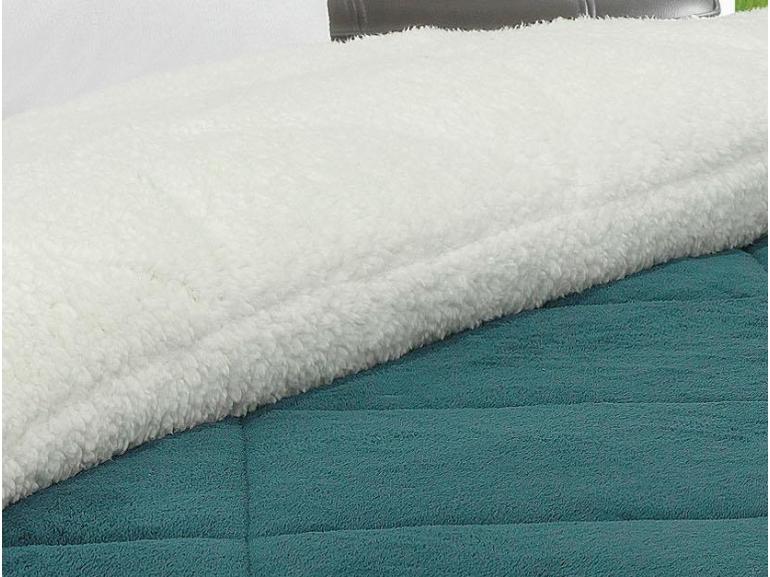 Edredom Solteiro Pele de Carneiro e Plush - Sherpa Madrid Azul Petroleo - Dui Design