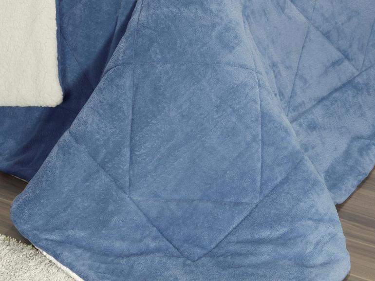 Edredom Queen Pele de Carneiro e Plush - Sherpa Madrid Azul Stone - Dui Design