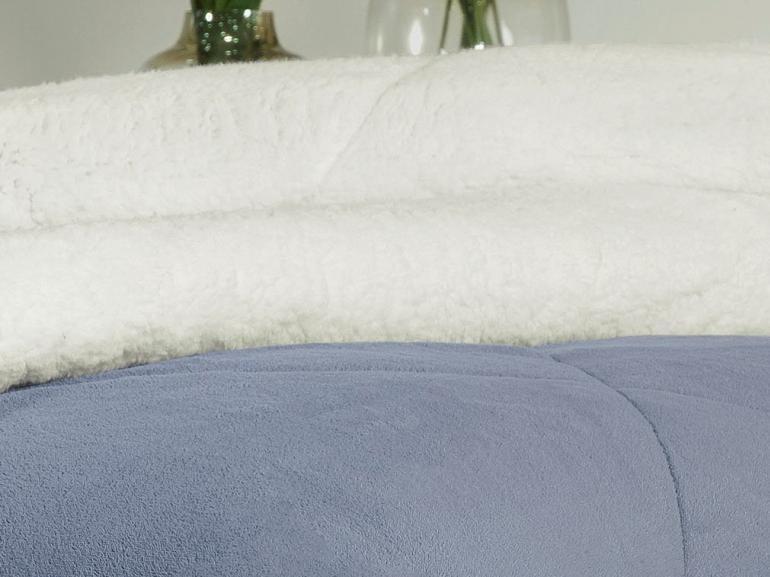Edredom Casal Pele de Carneiro e Plush - Sherpa Madrid Azul Stone - Dui Design