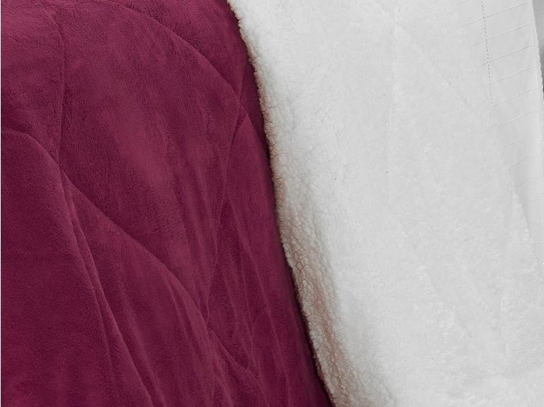 Edredom King Pele de Carneiro e Plush - Sherpa Madrid Cereja - Dui Design
