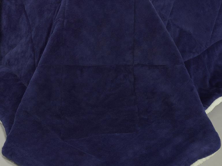 Edredom Casal Pele de Carneiro e Plush - Sherpa Madrid Marinho - Dui Design