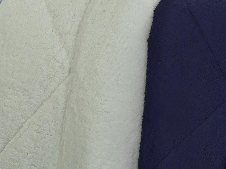 Edredom Solteiro Pele de Carneiro e Plush - Sherpa Madrid Marinho - Dui Design