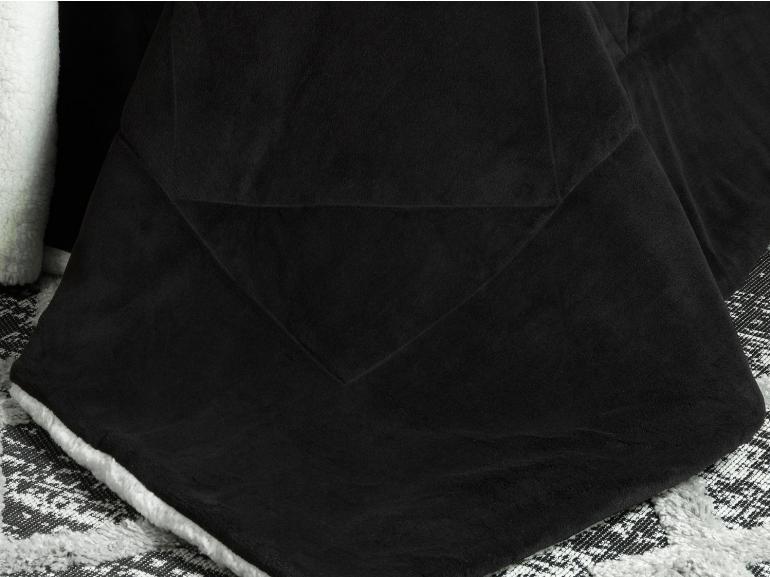 Edredom Queen Pele de Carneiro e Plush - Sherpa Madrid Preto - Dui Design