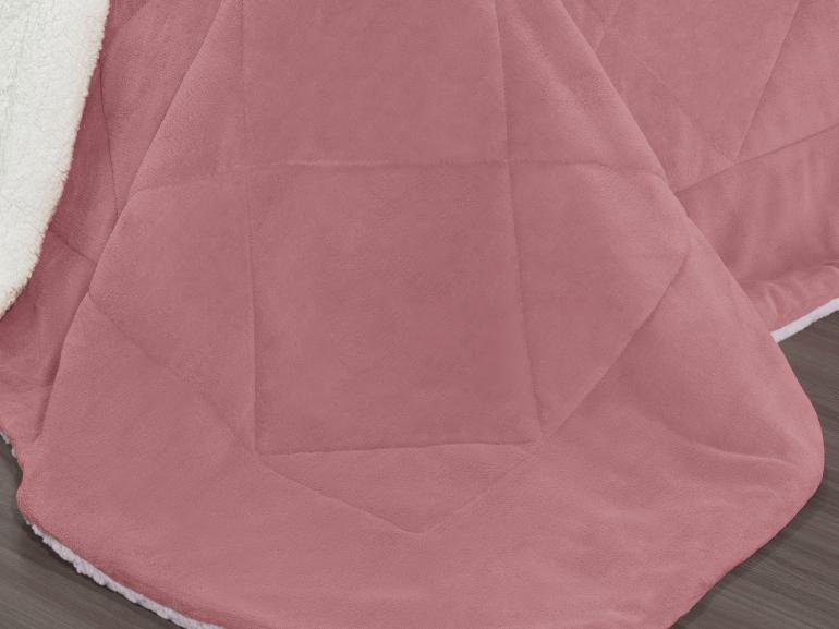 Edredom King Pele de Carneiro e Plush - Sherpa Madrid Rosa Velho - Dui Design