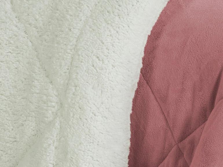 Edredom Solteiro Pele de Carneiro e Plush - Sherpa Madrid Rosa Velho - Dui Design