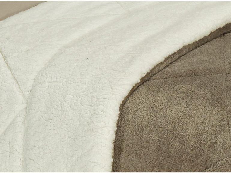 Edredom Solteiro Pele de Carneiro e Plush - Sherpa Madrid Taupe - Dui Design