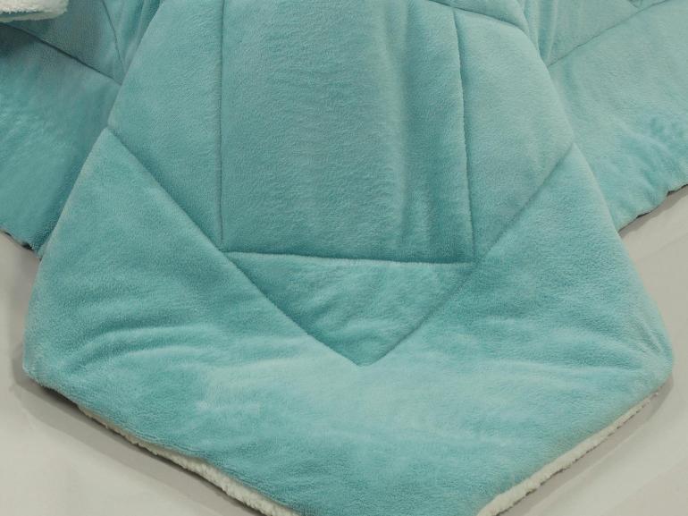 Edredom Solteiro Pele de Carneiro e Plush - Sherpa Madrid Turquesa - Dui Design