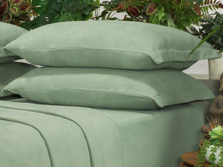 Jogo de Cama Solteiro Plush feito de Manta de Microfibra - Conforto Verde Cameo - Dui Design