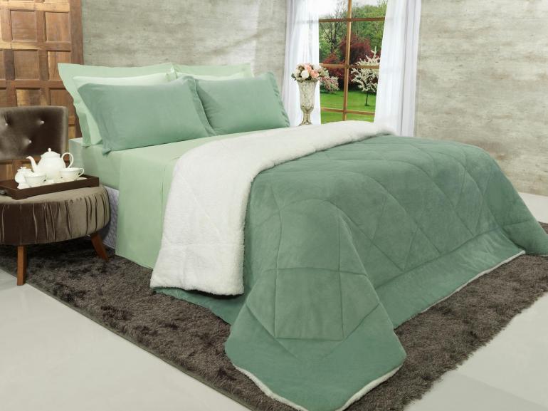Edredom King Pele de Carneiro e Plush - Sherpa Madrid Verde Granite - Dui Design