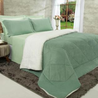 71ac462980 Edredom Queen Pele de Carneiro e Plush - Sherpa Madrid Verde Granite - Dui  Design