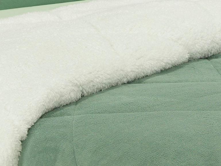 Edredom Casal Pele de Carneiro e Plush - Sherpa Madrid Verde Granite - Dui Design