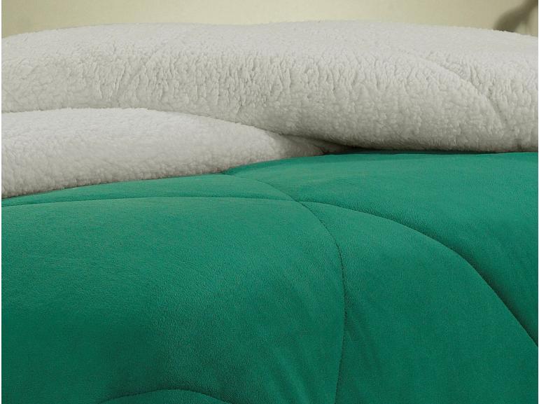 Edredom King Pele de Carneiro e Plush - Sherpa Madrid Verde Ultramarine - Dui Design