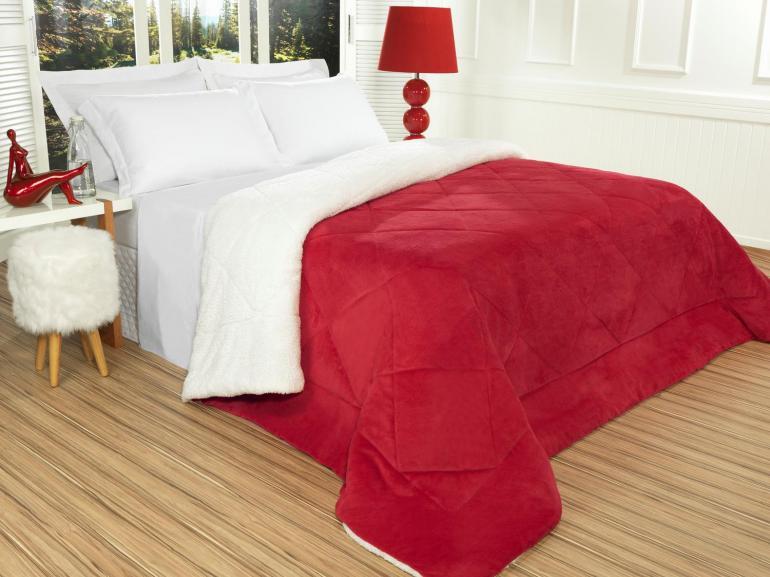 Edredom Queen Plush e Pele de Carneiro - Sherpa Madrid Vermelho - Dui Design