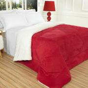 Edredom Solteiro Plush e Pele de Carneiro - Sherpa Madrid Vermelho - Dui Design
