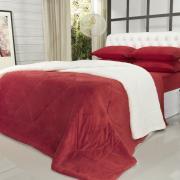 Edredom King Plush e Pele de Carneiro - Sherpa Madrid Vermelho - Dui Design