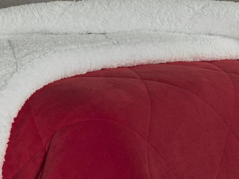 Edredom Casal Plush e Pele de Carneiro - Sherpa Madrid Vermelho - Dui Design