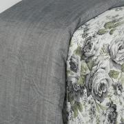 Kit: 1 Cobre-leito King Bouti de Microfibra Ultrasonic Estampada + 2 Porta-travesseiros - Magda Cinza - Dui Design