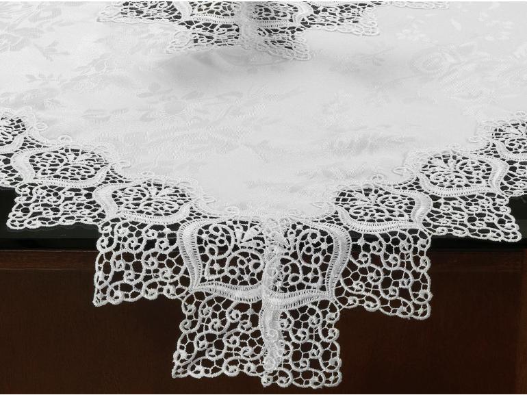 Centro de Mesa com Bordado Guipir Fácil de Limpar 85x85cm Avulso - Magestic Branco - Dui Design