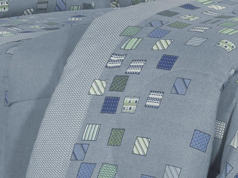 Enxoval King com Edredom 5 peças 150 fios - Maicon Azul - Dui Design