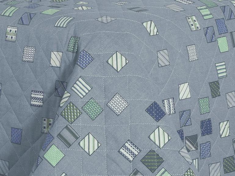Kit: 1 Cobre-leito King + 2 Porta-travesseiros 150 fios - Maicon Azul - Dui Design