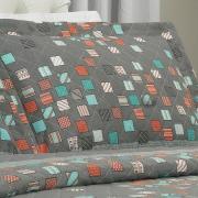 Kit: 1 Cobre-leito King + 2 Porta-travesseiros 150 fios - Maicon Cinza - Dui Design