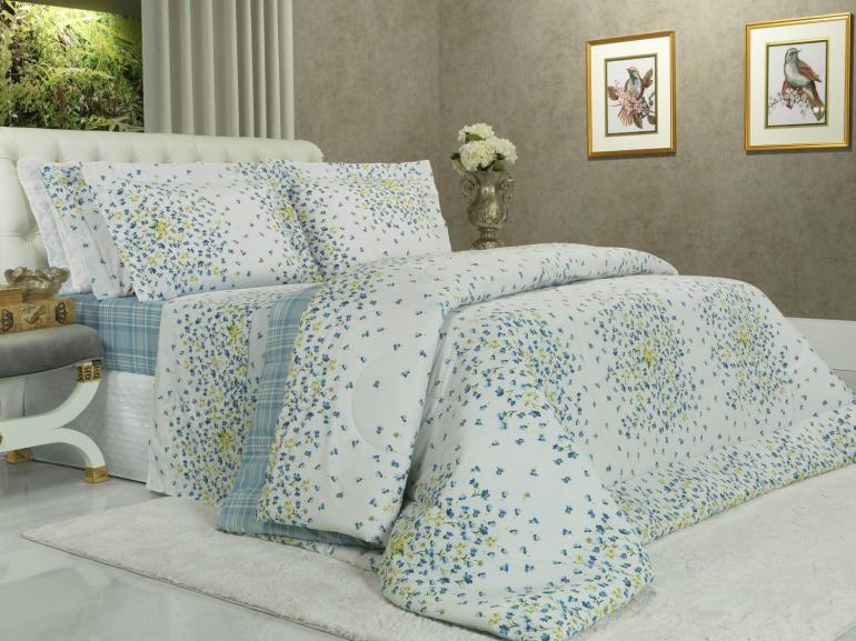 Jogo de Cama Queen Percal 200 fios - Maite Azul - Dui Design