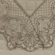 Jogo de Cama Casal Cetim de Algodão 300 fios com Bordado Inglês - Malaga Bege - Dui Design