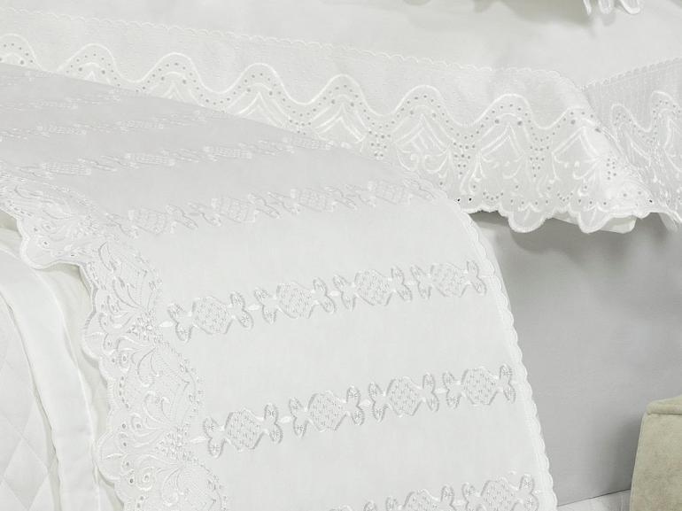 Jogo de Cama Queen Cetim de Algodão 300 fios com Bordado Inglês - Malaga Branco - Dui Design