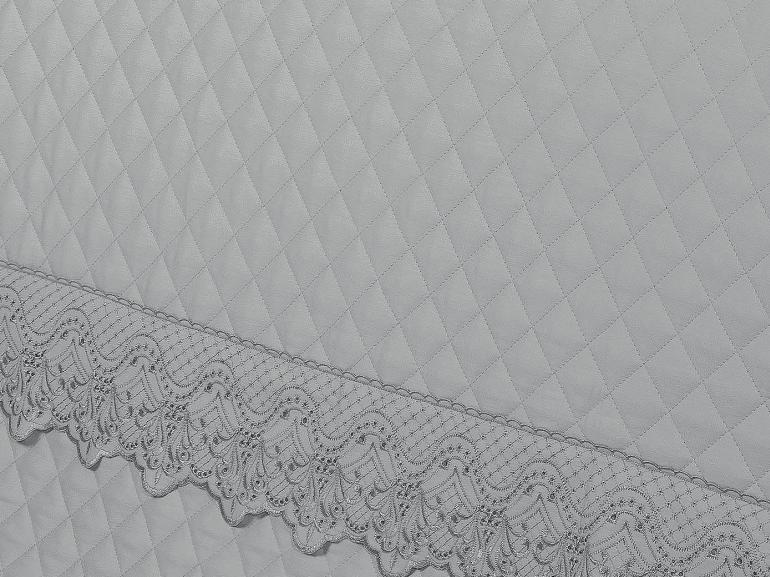 Enxoval 10 peças com Cobre-leito King Cetim de Algodão 300 fios com Bordado Inglês - Malaga Cinza - Dui Design