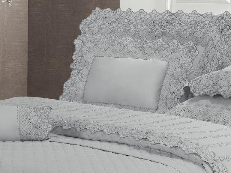 Enxoval 10 peças com Cobre-leito Casal Cetim de Algodão 300 fios com Bordado Inglês - Malaga Cinza - Dui Design