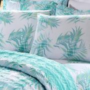 Kit: 1 Cobre-leito Casal + 2 Porta-travesseiros 150 fios - Malibu Verde - Santista